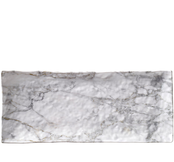White Marble Acrylic Small Rectangular Serving Tray - Set of 2