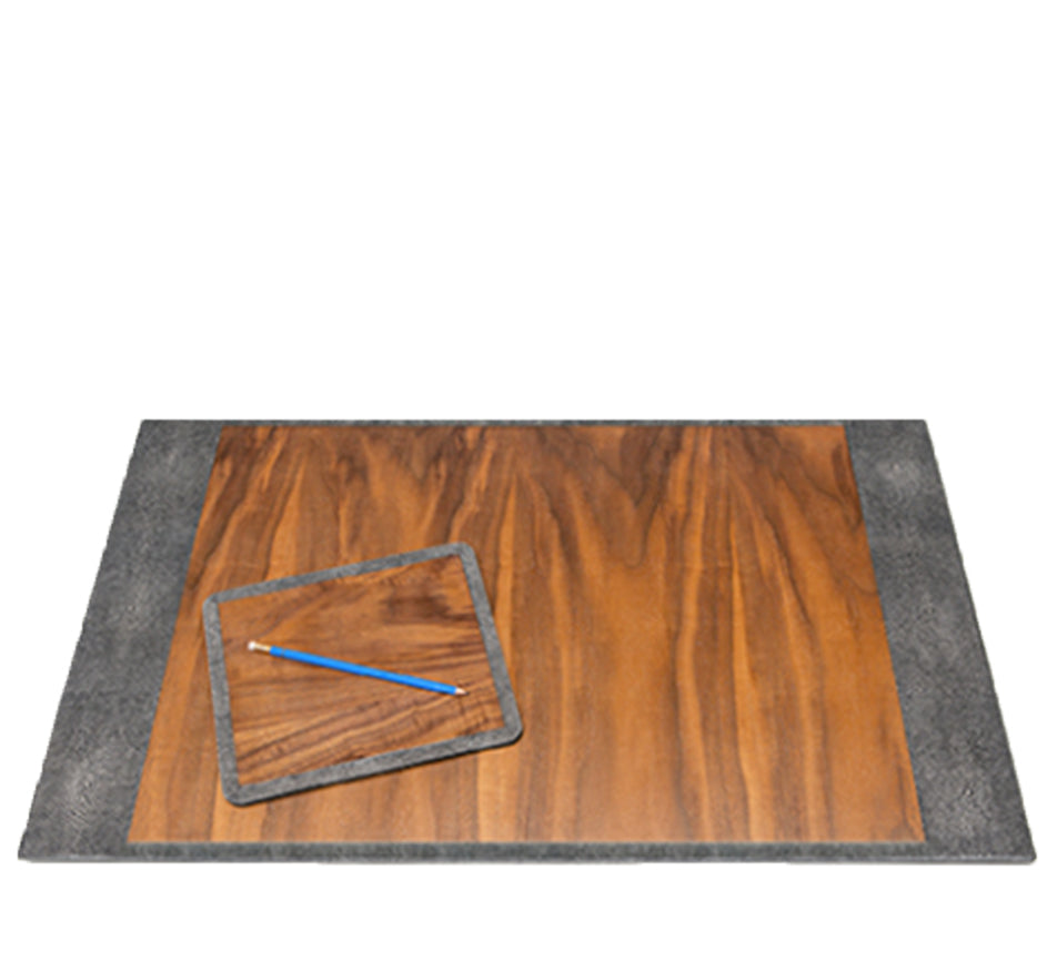 Grey Shagreen & Wood Desk Blotter & Mouse Pad