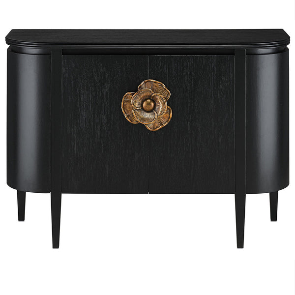 Caviar Black & Brass Flower Demi-lune Cabinet