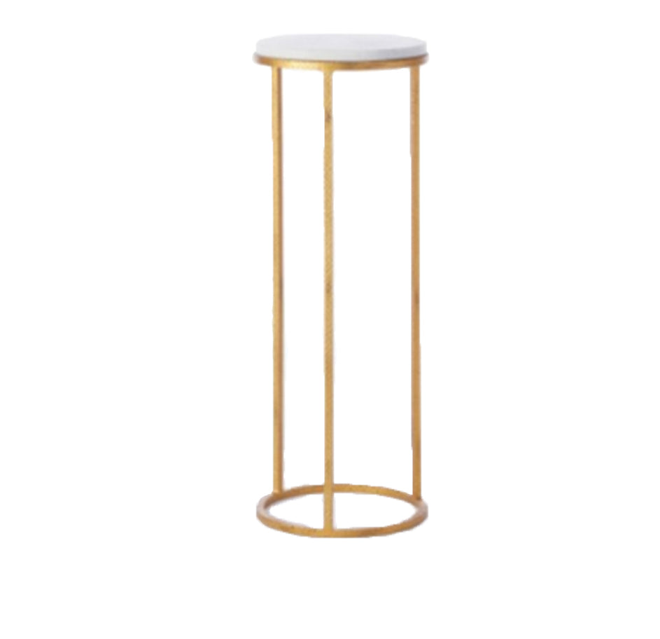 Round Marble And Brass Pedestal Lg
