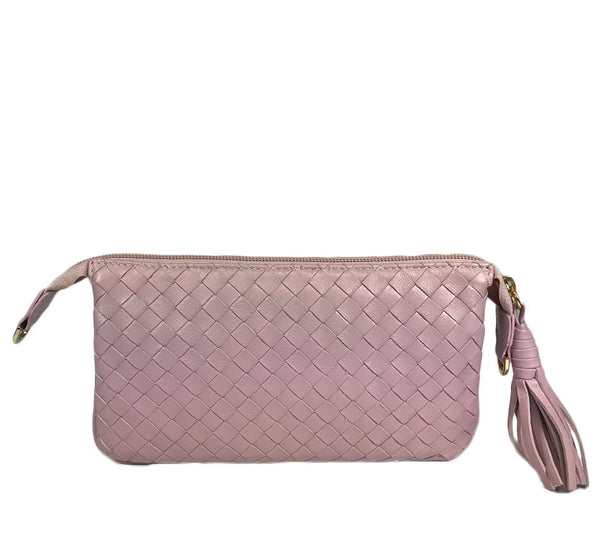 Three Part Pink Woven Leather Purse