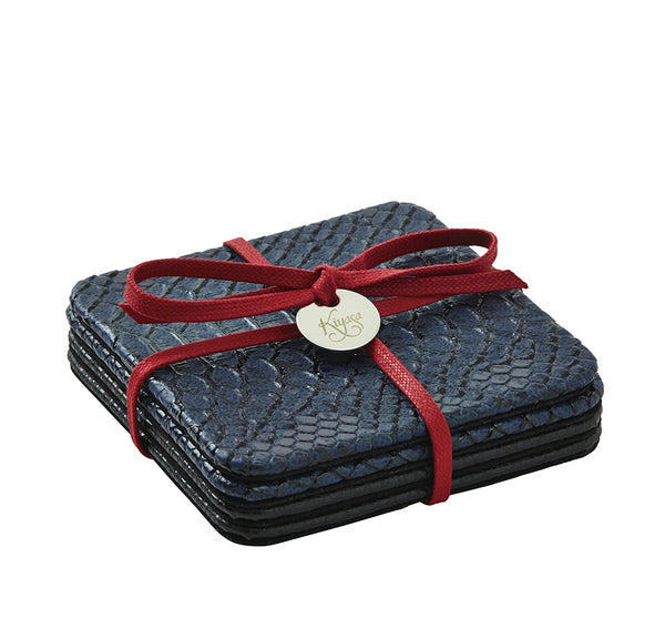 Square Coasters with Cording in Python Midnight (Set of 4)