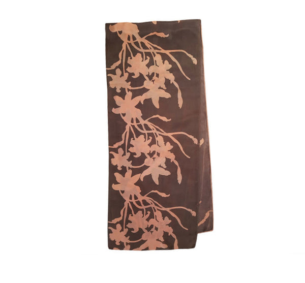 Peach & Earth Floral Silk Scarf