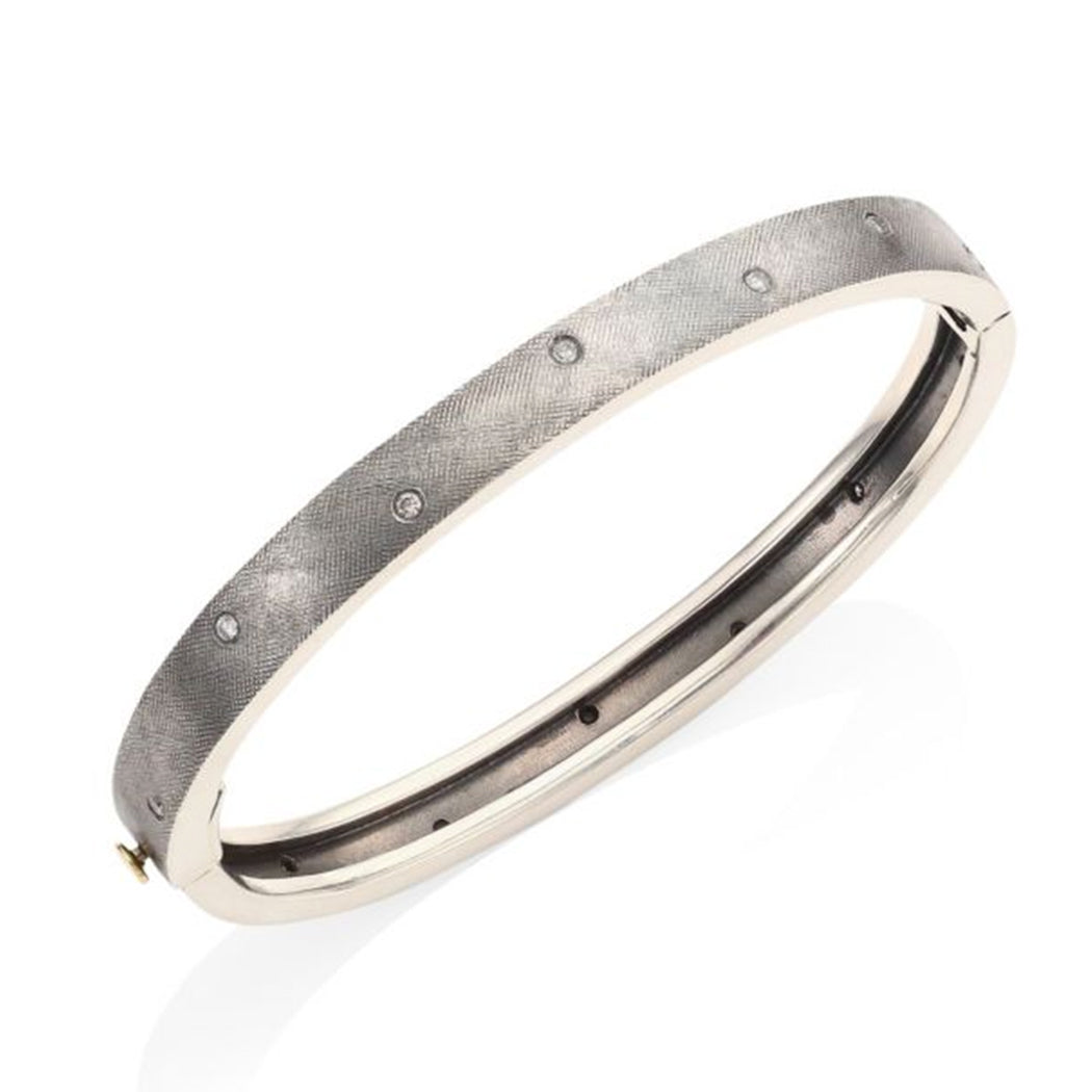 Silver Diamond Scattered Bangle