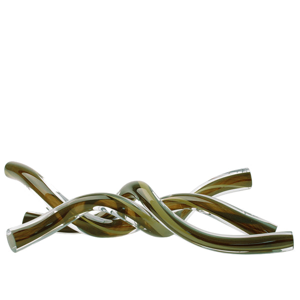 Intertwined Glass Sculpture in Olive Green