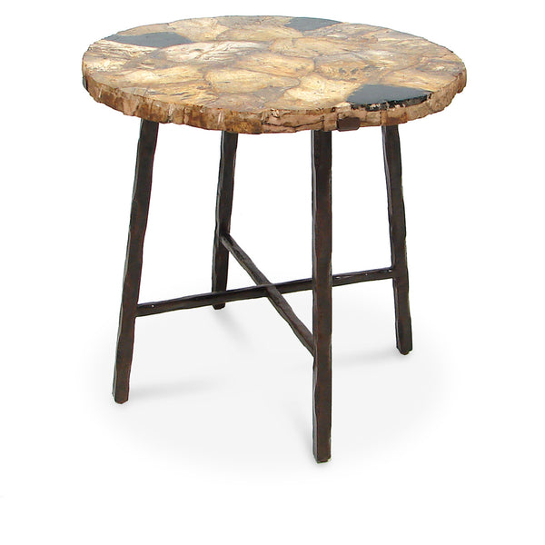 Petrified Wood Side Table Round