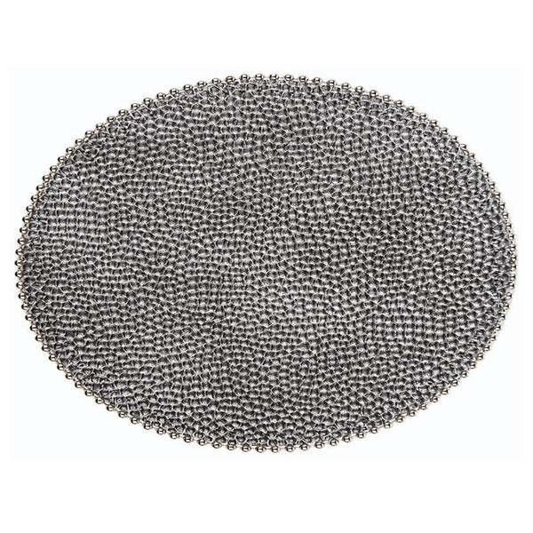 Caviar Placemat with Silver Beading