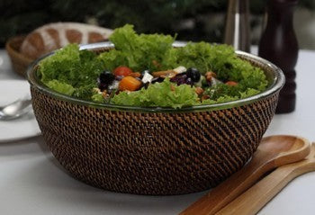 Woven Salad Bowl with Glass Insert