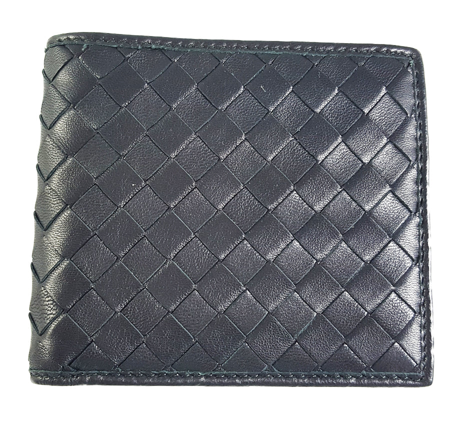 Woven Leather Bifold Wallet
