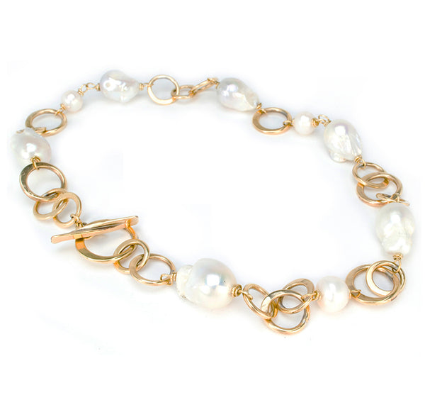 Bronze Circle Link and Baroque Pearl Necklace