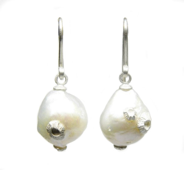 Small Baroque Pearl Drop Earrings With Silver Barnacles