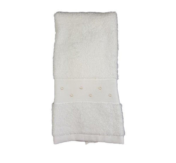 Swiss Dot Guest Towel In White Ivory