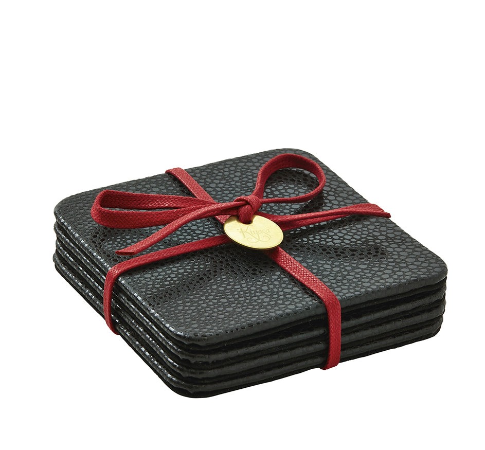 Square Coasters with Cording in Shagreen Black (Set of 4)