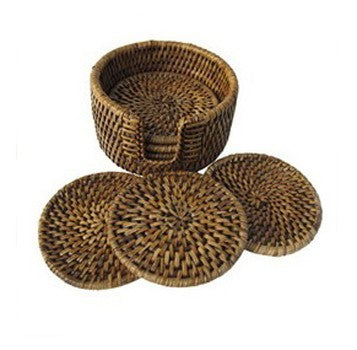 Woven Wicker Coaster Set