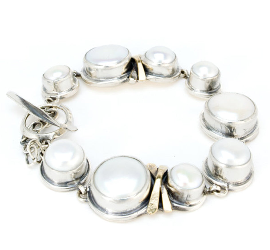 Silver and Fresh Water Pearl Tennis Bracelet