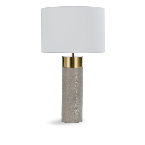 Harlow Shagreen Cylinder Lamp in Ivory Grey