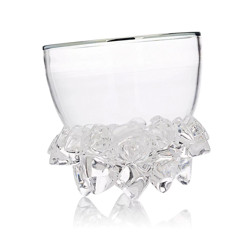 Spike Bowl In Clear With Platinum Edge