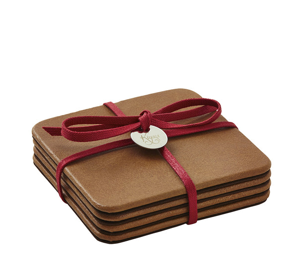 Square Coasters with Cording in Suede British Tan (Set of 4)