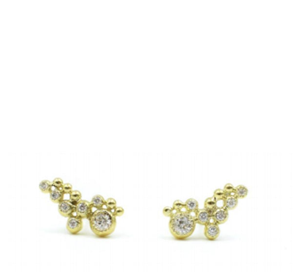 18K and Diamond Cluster Studs