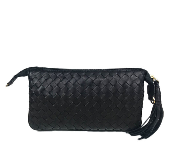 Three Part Black Woven Leather Purse
