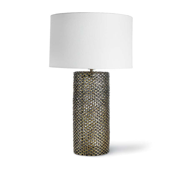 Chain Link Glass Cylinder Table Lamp