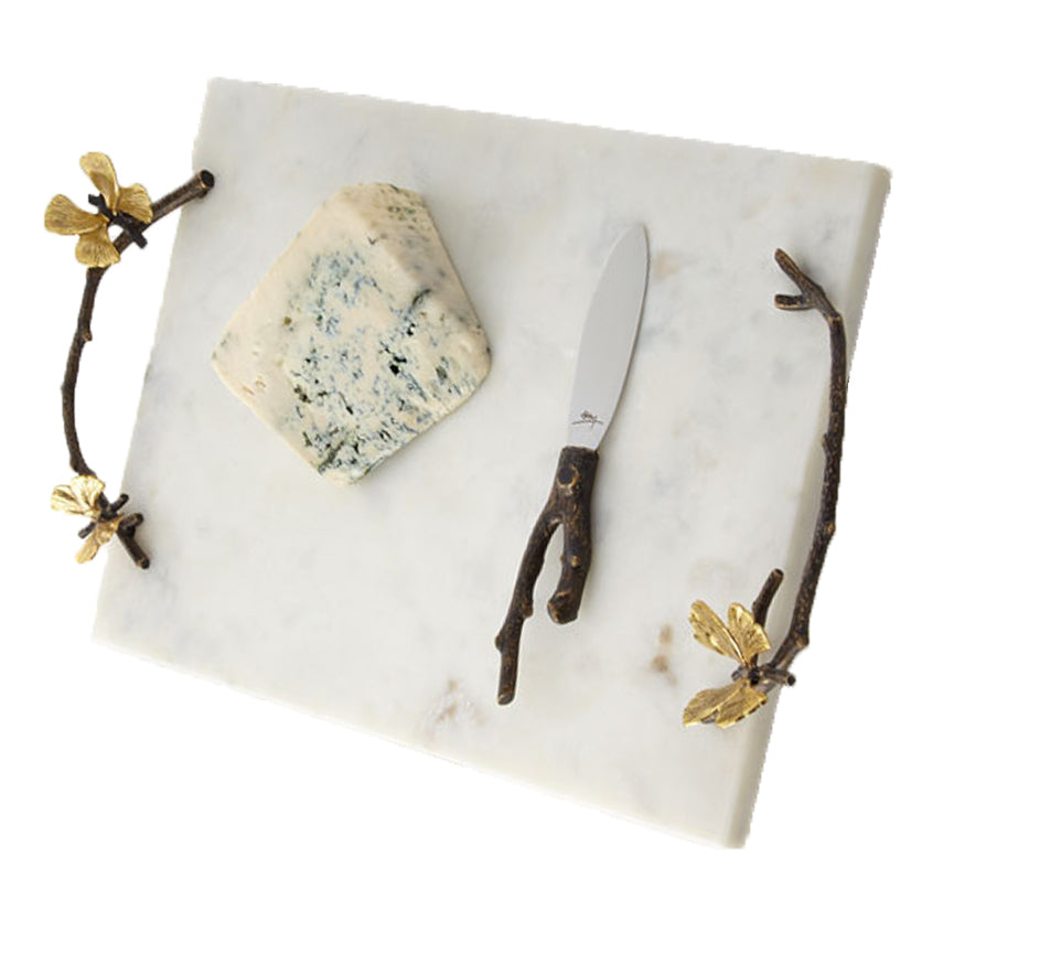 White Marble Ginko Butterfly Cheeseboard
