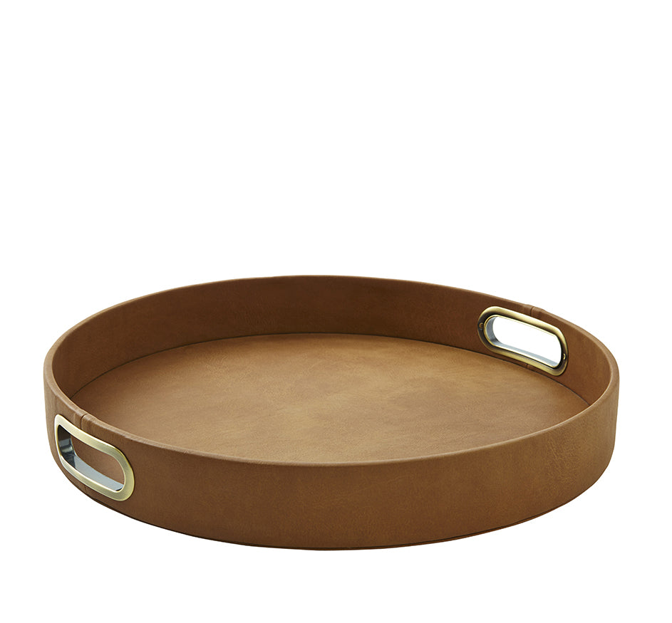 Suede Round Tray in British Tan