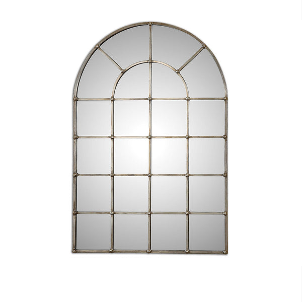 Arch Window Pane Mirror In Oxidized Silver 30x44