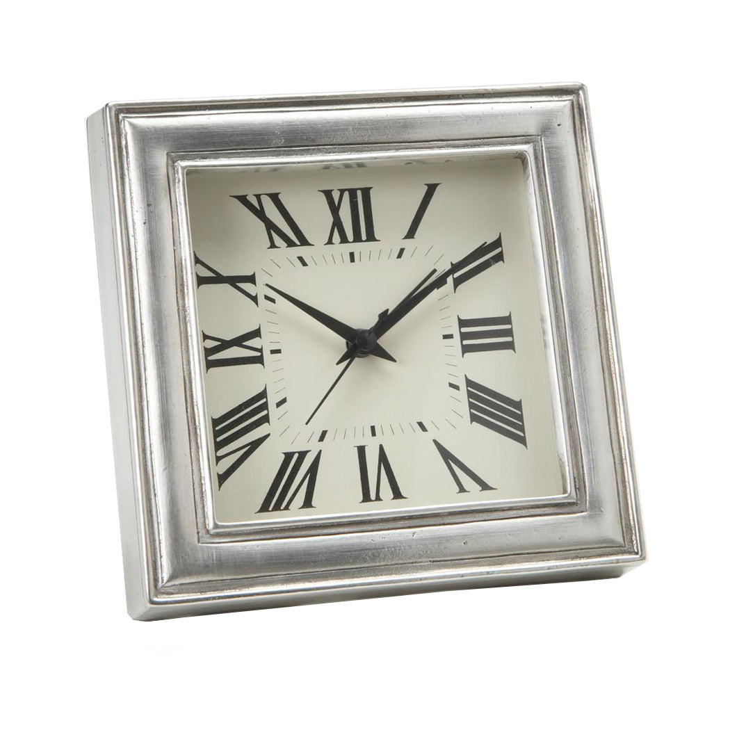 Square Pewter Alarm Clock