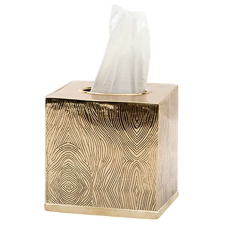 Humbolt Tissue Box in Shiny Brass