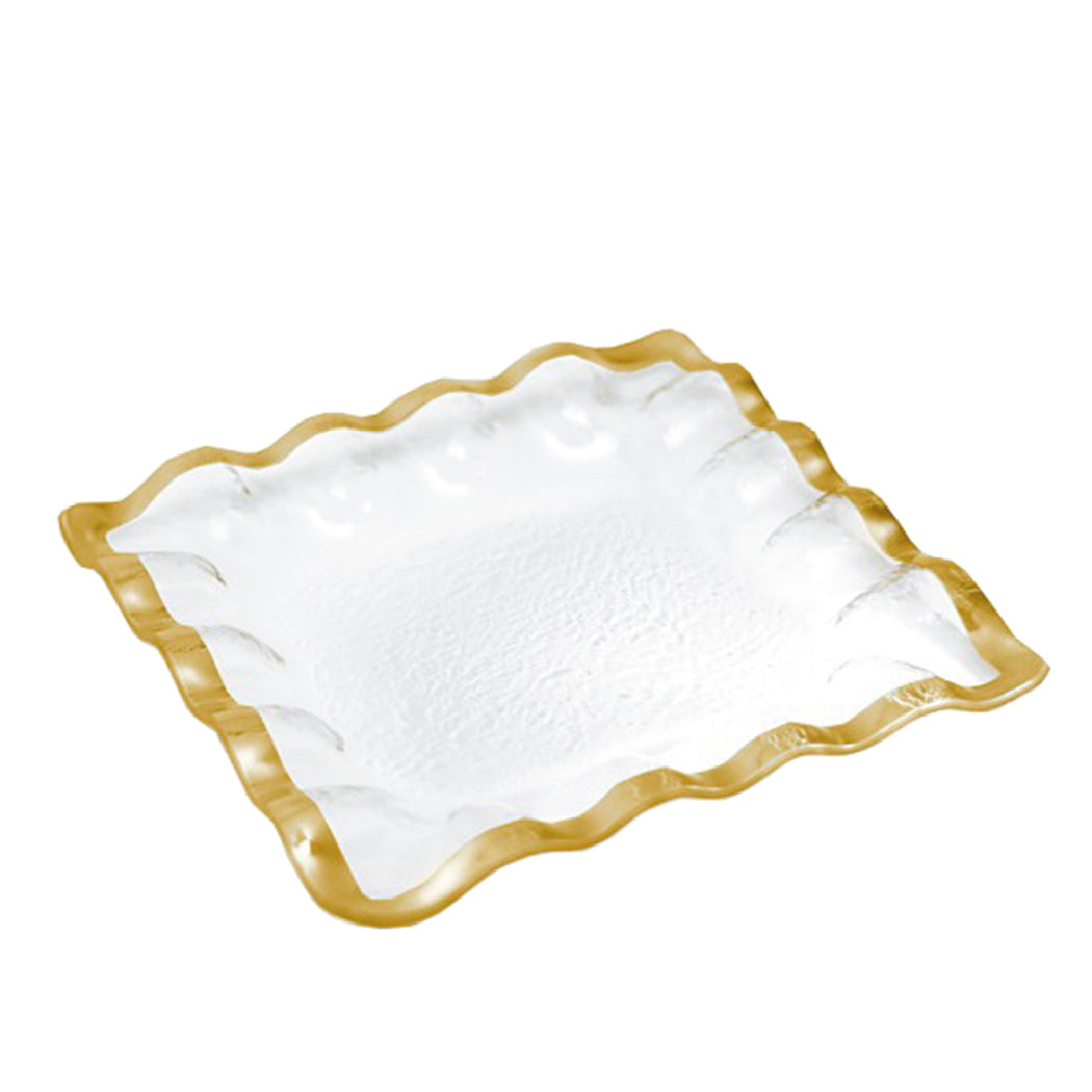 Ruffle Square Tray Gold