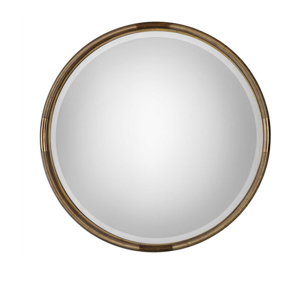 Antiqued Gold Round Mirror 36""