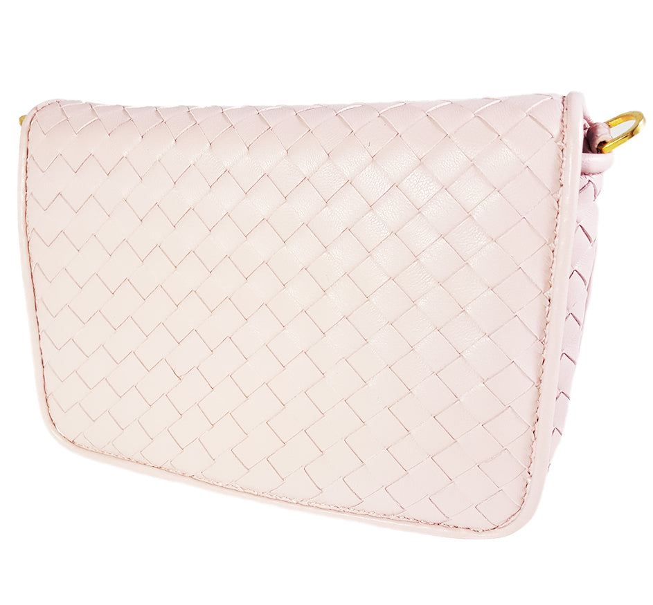 Small Pink Woven Leather Full flap Purse