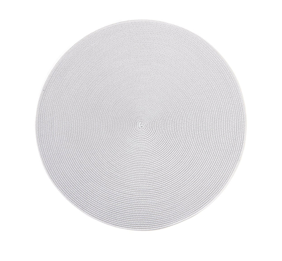 Linen Finish Round Nylon Placemat In Silver and White