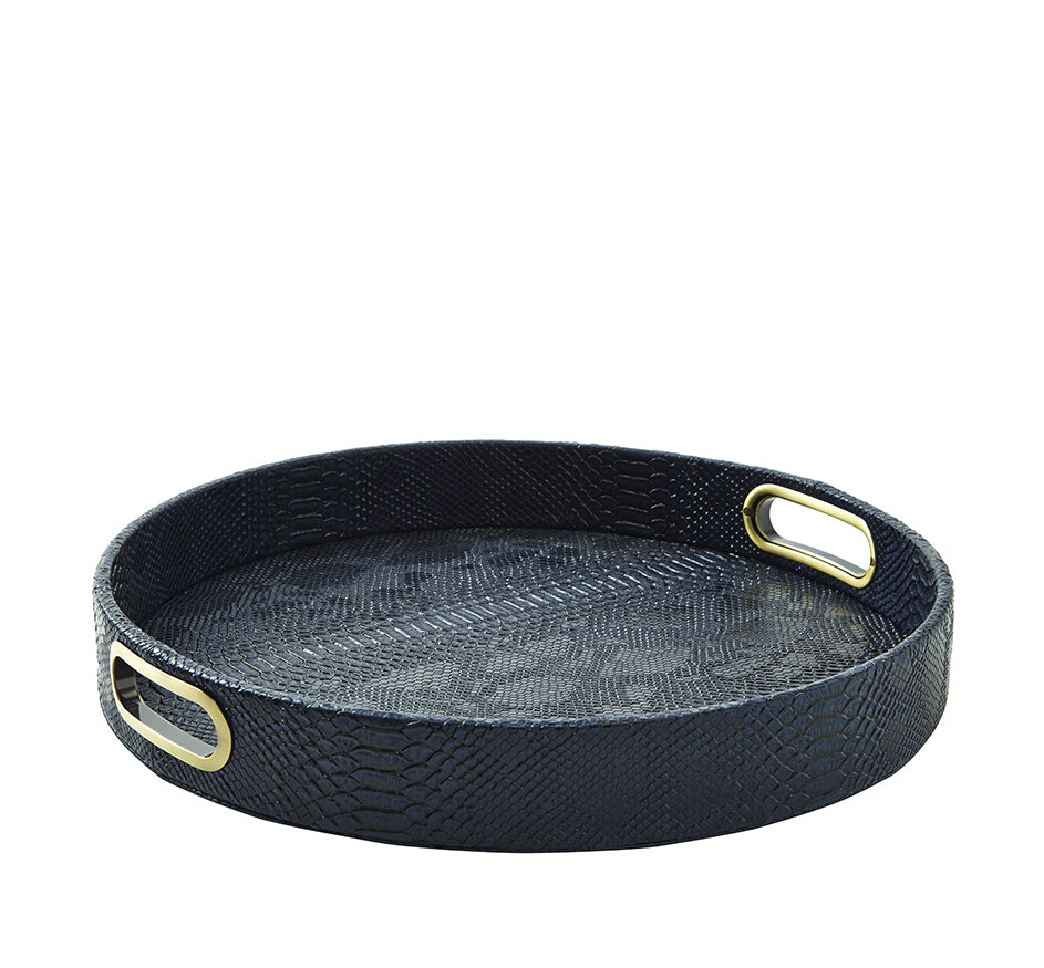 Python Round Tray in Midnight