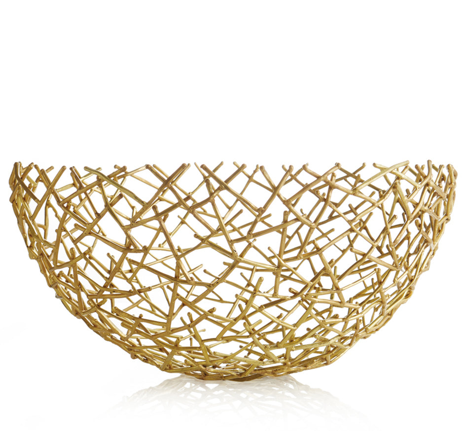 Gold Thatched Bowl Lg