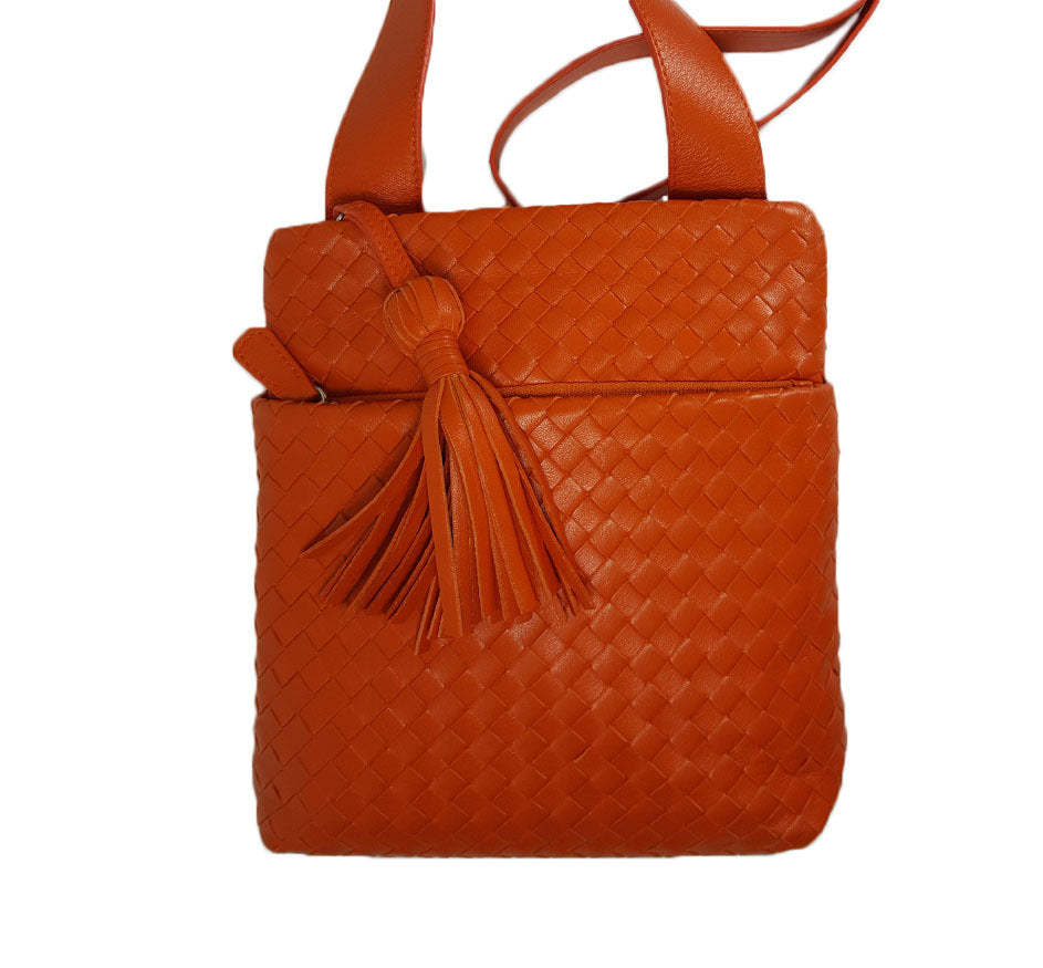 Orange Woven Leather Crossbody