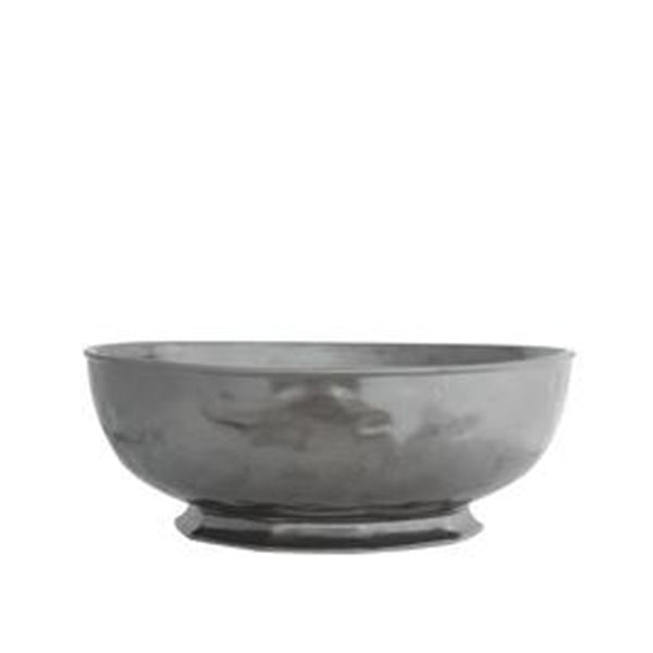 Pewter Ceramic Large Serving Bowl