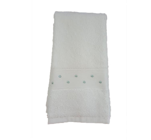 Swiss Dot Guest Towel In White Eucalypt