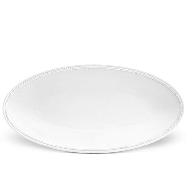 Soie Tressee Small Oval Tray In White