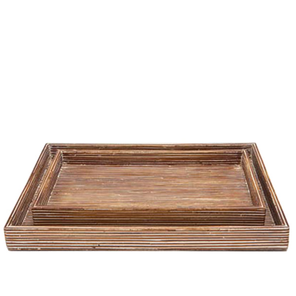 Kona Nesting Tray Set in Dark Brown