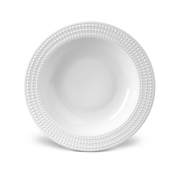 Perlee Round Rimmed Serving Bowl in White