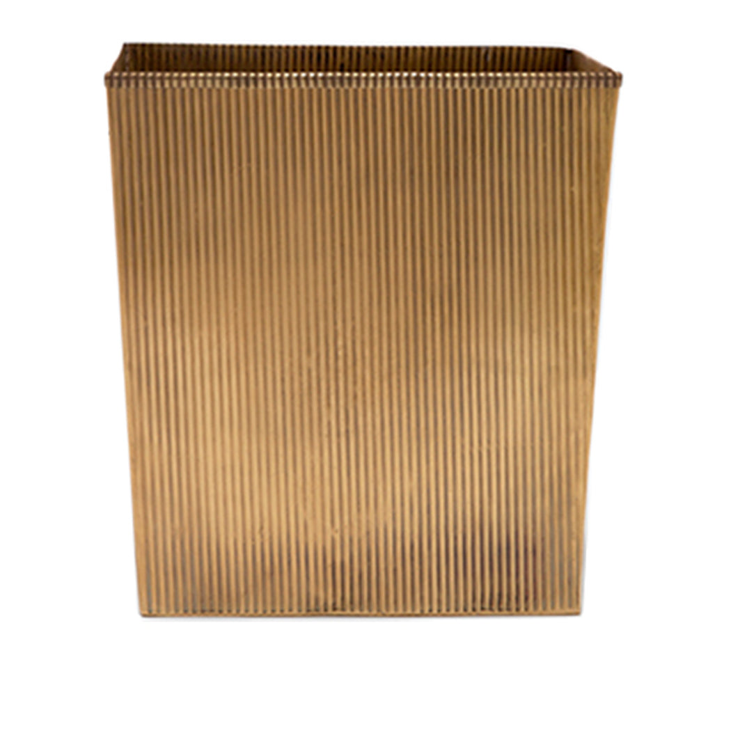 Redon Rectangular Wastebasket in Antique Brass