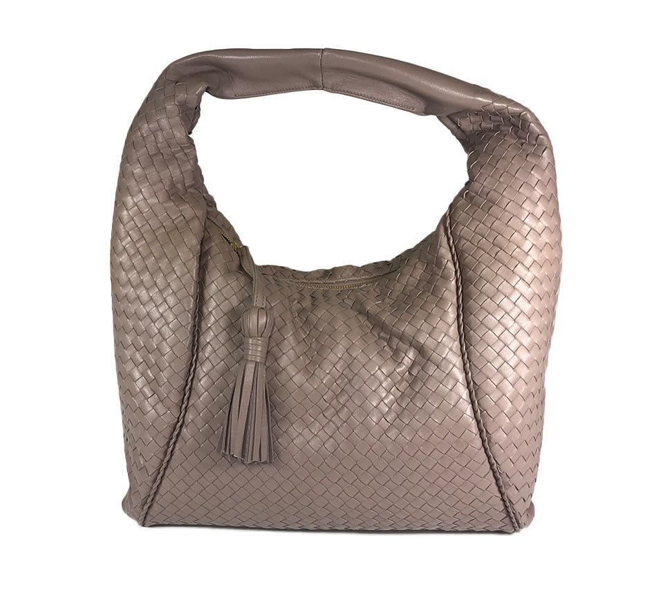 Taupe Woven Leather Hobo