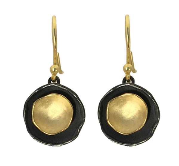 Oxidized Silver And Gold Vermeil Pod Drop Earring