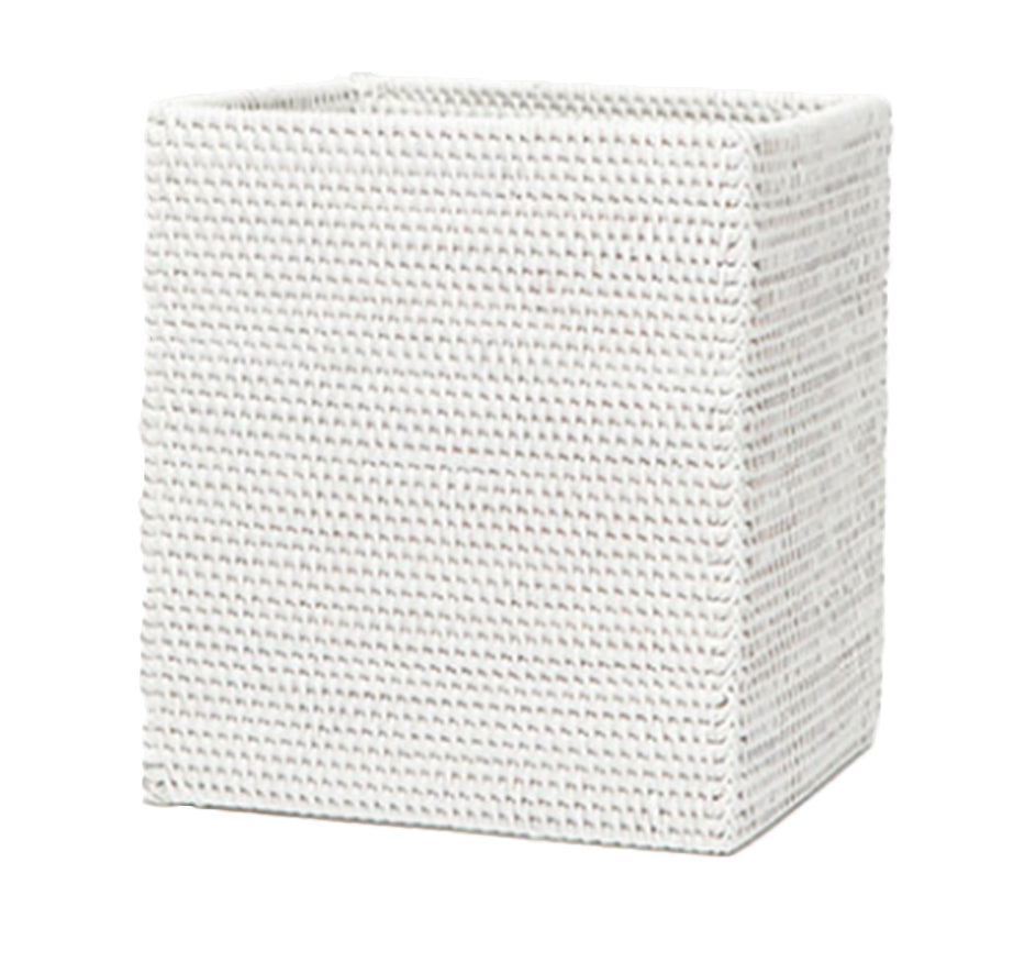 Dalton White Rectangle Wastebasket