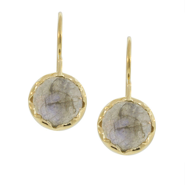 Labradorite & Gold Round Drop Earrings