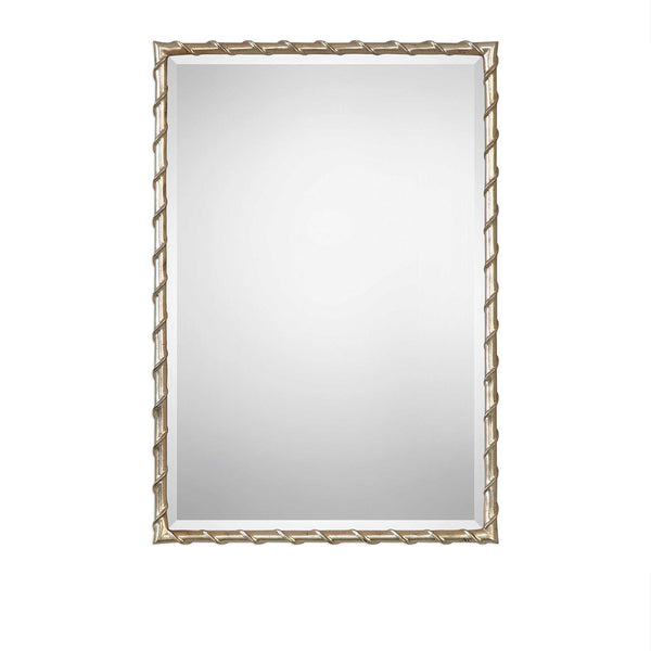 Brushed Silver Twist Mirror 22x32