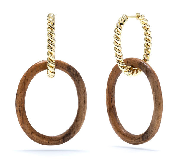 Earth Goddess Teak Link Earrings