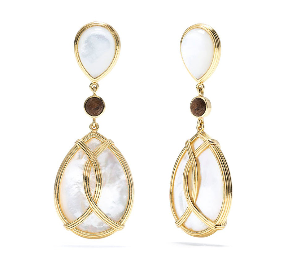 Monique Tear Drop Earrings In Mother of Pearl